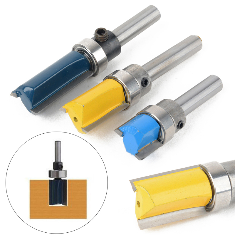 3PCS Flush Trim Router Bit Top & Bottom Bearing 1/4'' 11.9mm Shank Woodworking Tool Milling Router Cutter Mayitr high grade carbide alloy 1 2 shank 2 1 4 dia bottom cleaning router bit woodworking milling cutter for mdf wood 55mm mayitr