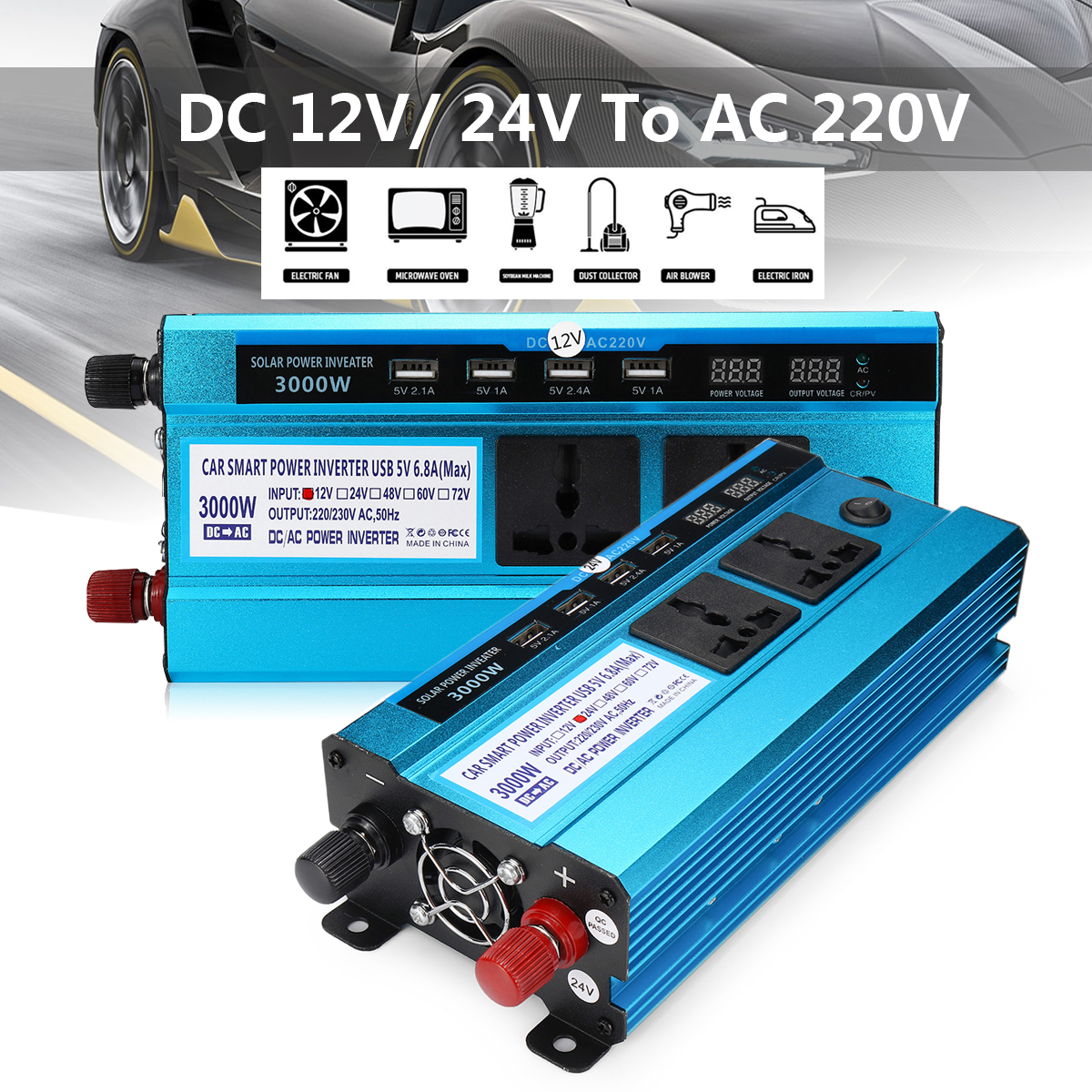 3000W Car LED Solar Power Inverter DC 12/ 24V to AC 220V Sine Wave USB Converter Digital Display Built-in Cooling Fan Light