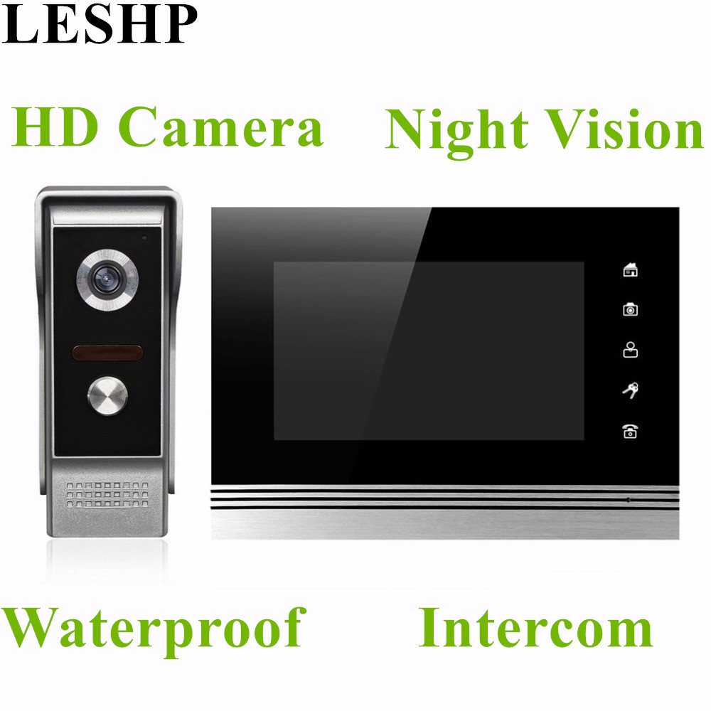 XSL-V70Km-M4 Wired Visual Doorbell 7 Inch LCD Video Monitor Door Phone Intercom System Door Release Unlock Doorbell Camera homefong villa wired night visual color video door phone doorbell intercom system 4 inch tft lcd monitor 800tvl camera handfree