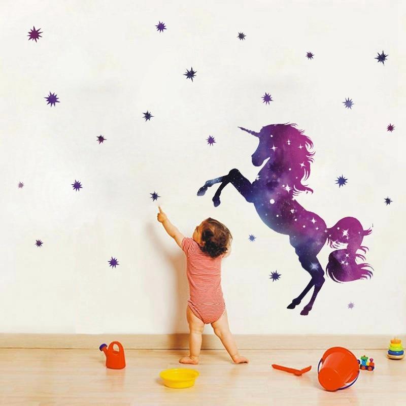 Fancy Unicorn Wallpaper Animal Cartoon Star Diy Kids Bedroom Decorations Kindergarten Nursery Home Decor Wall Stickers