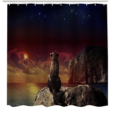 3D Shower Curtain Waterproof Elephant Curtain Bathroom Products Creative Polyester Bath Curtain with 12 Hooks 180* 180cm