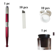 Microblading Permanent Makeup Eyebrow Tattoo Needle 3D Eyebrow Embroidery Manual Pen + Ink Glue Ring+ Pigment + 12 Needles Kit