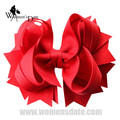 "WomensDate Exquisito 4.5 ""Red Solid Stacked Chica de Spike Hair Bows Hairbows Sin Clips de La Venda Del Bebé Headwear 12 unids"