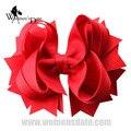 """WomensDate Requintado 4.5 """"Red Sólidos Empilhados Pico Arcos de Cabelo Hairbows da Menina Sem Clipes Headband Bebê Headwear 12 pcs"""