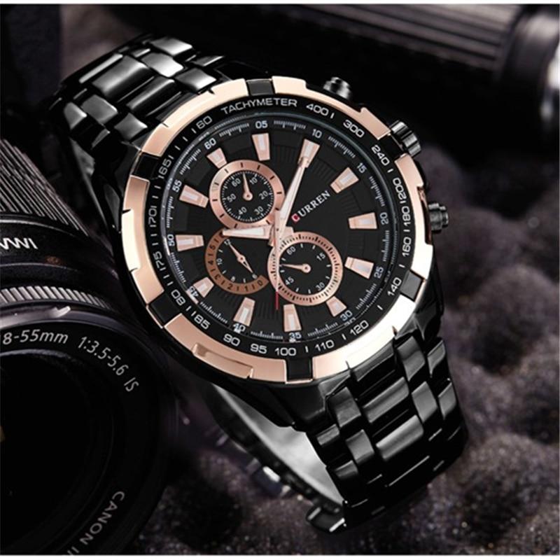 CURREN zegarki mężczyźni Top marka luksusowa moda i Casual zegarki kwarcowe męskie klasyczne analogowe sportowe pasek stalowy zegar Relojes 6