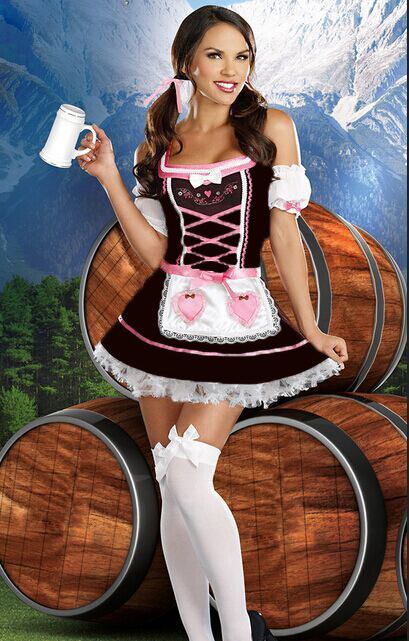 UTMEON Pink Sweet Candy Strapless Cosplay Beer Girl Costume Women Beer Wench Costume German Bavarian Beer Girl Oktoberfest Dress