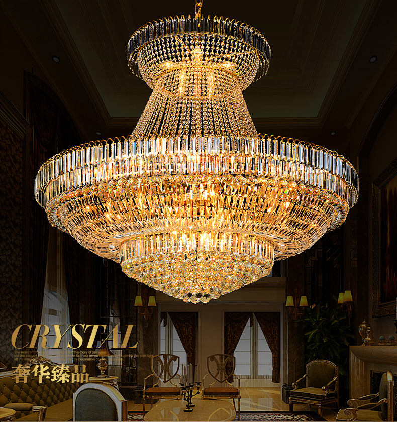 Modern Emas Kristal Chandelier Lampu Fixture Droplight Bulat Besar - Pencahayaan dalam ruangan - Foto 1