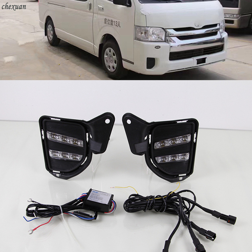 CSCSNL 1 set Led Daytime Running Lights DRL fog lamp cover with Yellow Turning Signal Function