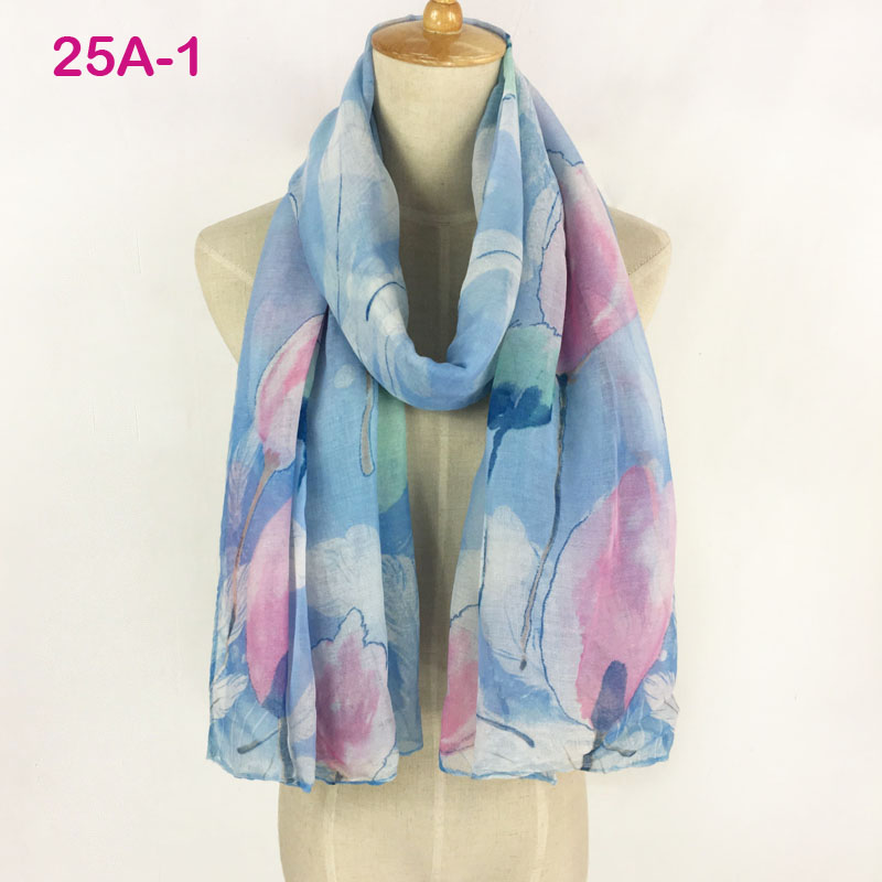 fashion cotton voile flower printed scarf