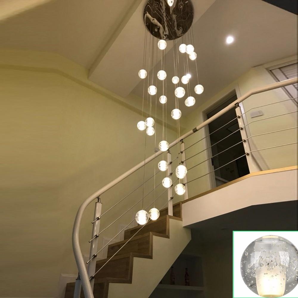 Modern Led Crystal Pendant Lamp Multi Light Pendant Light Crystal Bubble  Ball Pendant Lights Stairwell Lamps Hanging Lighting
