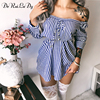 DeRuiLaDy Spring Summer Striped Lace Up Long Sleeve Mini Dress Women Shirt Dresses Female Sexy Off