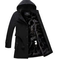 Hot 2018 Men Long Wool Coat Winter Men Jackets And Coats Slim Fit Men Windbreaker High Quality Trench Coat Plus Size clothing
