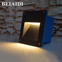BEIAIDI Waterproof Aluminum LED Stair Light Recessed Led Step Light 160X160mm Garden Porch Wall light Villia Pathway Footlight