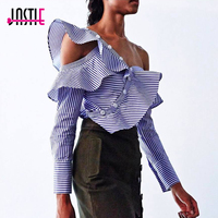 Jastie Striped Frill Asymmetric Shirt Top Off The Shoulder Ruffles Long Sleeves Autumn Women Blouses Shirts Female 2017 Blusas