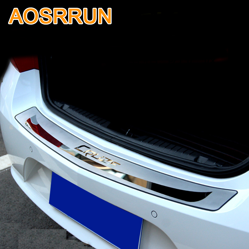 AOSRRUN For Chevrolet cruze 2009-2013 Sedan Car-Stying After guard Rear Bumper Trunk Guard Door Sill Plate Car Accessories aosrrun pu leather carbon fiber stying after guard rear bumper trunk guard plate car accessories for mazda cx 5 cx5 2012 2015