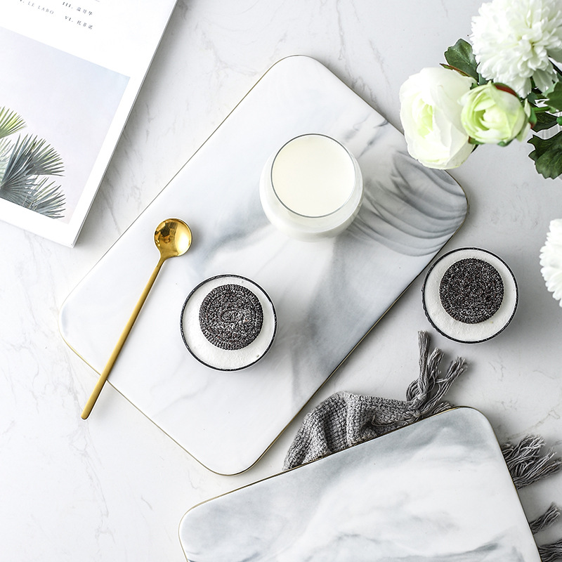 Nordic Marble Ceramic Plate Brief Golden Edge Rectangle Porcelain Dinner Plate Western Style Steak Fruit Tray Snack Dishes Plate in Dishes Plates from Home Garden