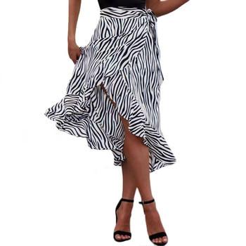 2019 Women hot summer animal zebra print Fashion skirts Casual beach holiday bandage high waist split sexy mini skirts Irregular