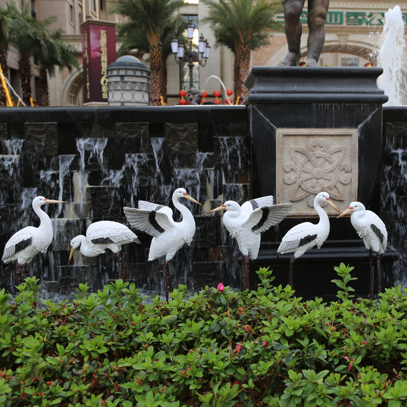 Rustic animal sculpture resin crane craft outdoor decoration 6pcs/lot garden stork decoration home Ornaments
