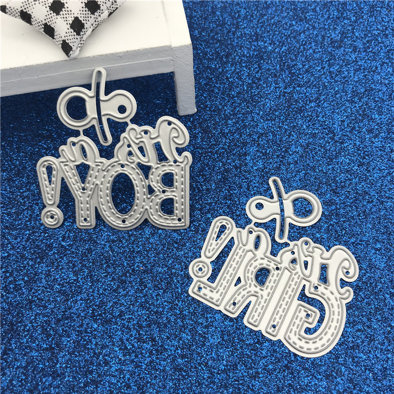 Electronic Components & Supplies 1pc Its A Girl Boy Metal Cutting Dies Stencil For Diy Scrapbooking Photo Embossing Craft Paper Dies Baby Shower Party Supplies