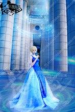 Free shipping Sailor Moon Princess Serenity Tsukino Usagi blue Dress Cosplay Costume Wedding dress for party/women