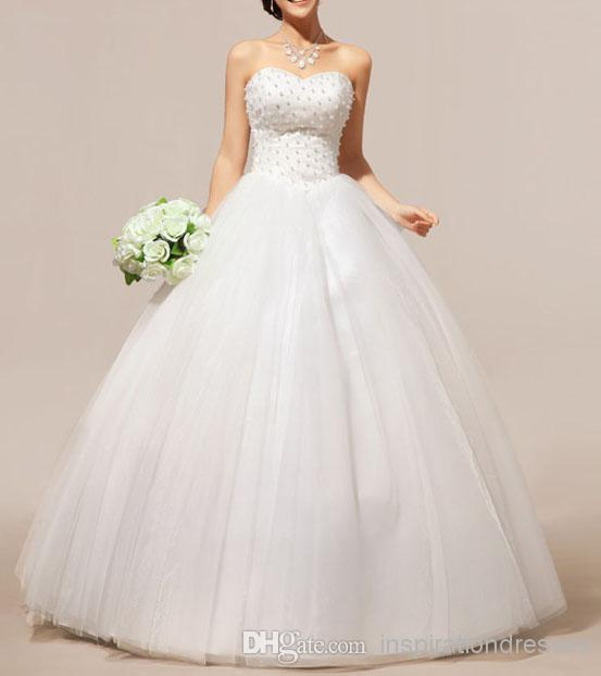 Cinderella Ball Gown Wedding Dresses 2015 Pearls Sweetheart Neckline Lace Up Big Bowknot Floor Length Bridal In From Weddings