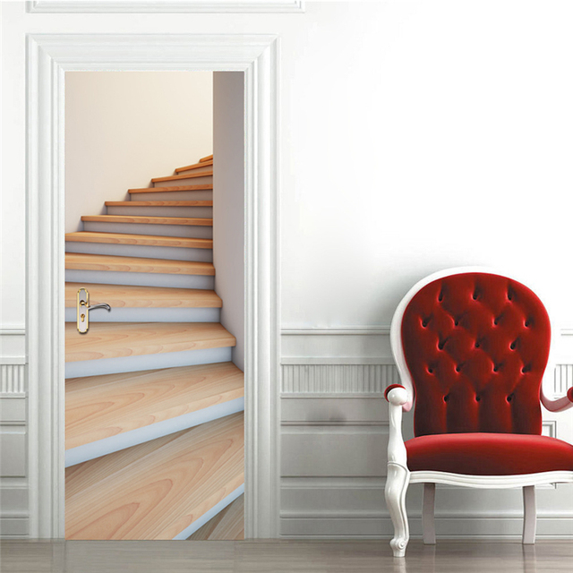 2 Sheets/pcs 3D Stairway DIY Door Sticker Waterproof Art Wall Paper  Creative Stair Mural