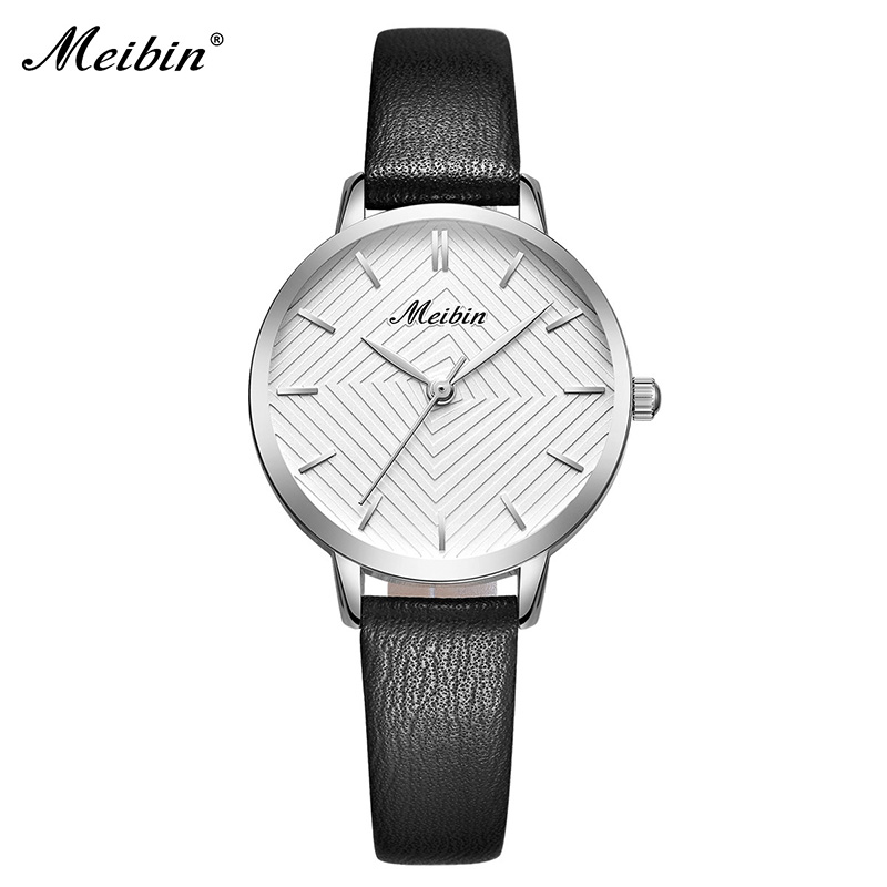 MEIBIN luxe merk vrouwen horloges 2018 mode roze lederen dameshorloge - Dameshorloges - Foto 4