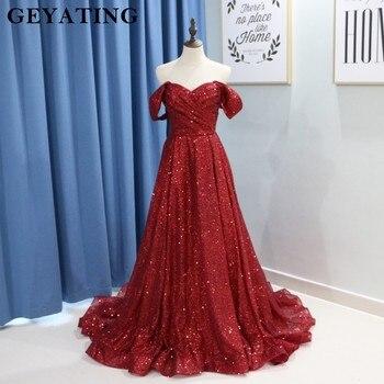 9eb56bafe9 Sparkly Borgoña lentejuelas baile vestidos largos 2019 Sexy hombro corsé  una línea de vestidos de fiesta