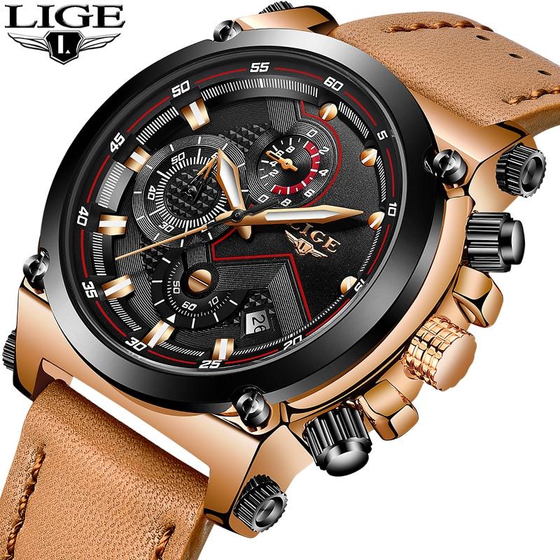 LIGE Orologio Al Quarzo Quadrante Grande Orologio Sportivo di Modo degli uomini di Cuoio Mens Watches Top Luxury Brand Orologio Da polso Impermeabile Relogio Masculino