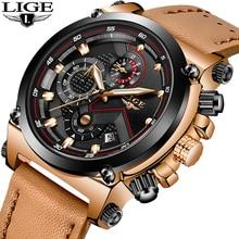 LIGE Часы Мужская мода Спортивный кварц Большой набор часов кожаные мужские часы Топ бренда Роскошные водонепроницаемые часы Relogio Masculino