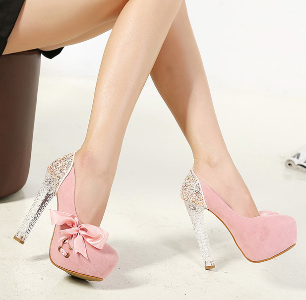 99415d30c47 2014 peach Bowtie Slip-On present-day women shoes high heels especial platform  shoes pumps women s pumps Bottom free shipping