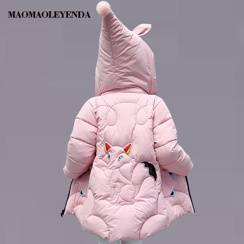 2018 new Winter Thick Jacket For Girls Cartoon Girls Jackets Hooded Jumpsuit Kids Teenage Autumn Clothing For Girls 6 8 12 Years girls winter jackets long woolen coats for kids girls casual autumn children s clothes teenage clothing for girls 6 8 12 years