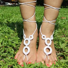 Circels Crochet Cotton Footless Nude Shoes Foot Decoration Anklet Barefoot Sandals Beach Wear Anklet