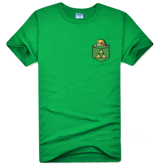 3979a2934 Green Game The Legend of Zelda Link Green T-shirts Cotton Cosplay Triforce  Pattern Short Sleeve O-Neck Tee Shirts for Adult