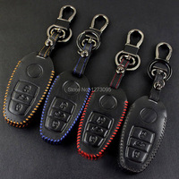 For 2014 2015 Volkswagen Vw Touareg Car Keychain Hand Stitched Leather Car Key Case Cover Smart