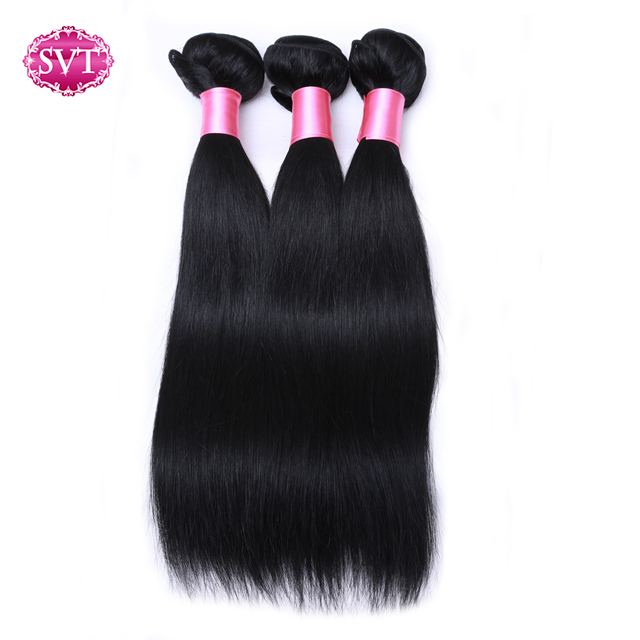 Filipino Straight Hair 3 Pcs/Lot 100 Percents Human Hair Bundles Extensions Svt Hair Products Non Remy Natural Black Cheap Weave Deals by Svt