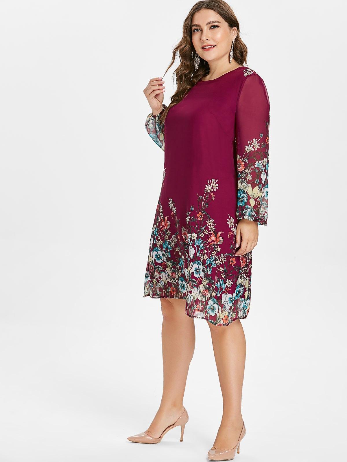 Robe grande taille à manches longues en mousseline de soie rose