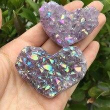 1pcs Amethyst Geode Heart Shaped Crystal Healing Crystals Stones Titanium Rainbow Aura Amethyst Cluster Angel Aura Quartz
