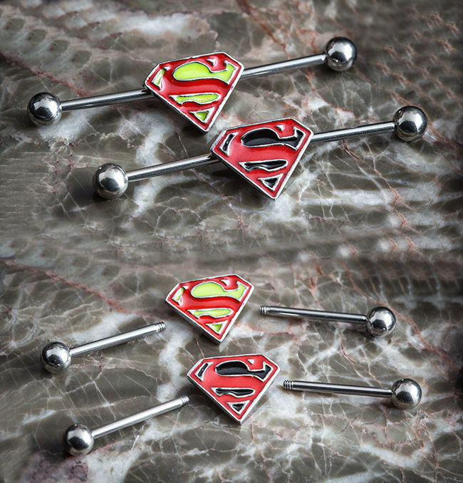 Superman Design Fake Ear Expander Industrial Barbell Ear Piercing Studs 50pcs/lot
