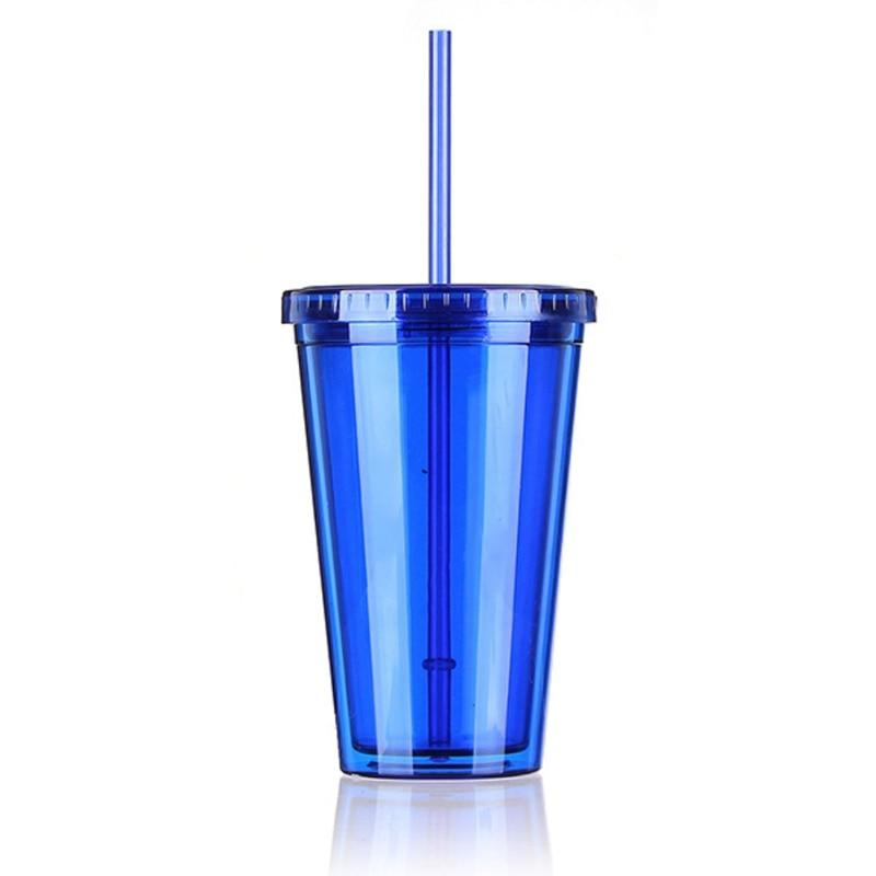 Einfache Design Flasche Becher Deckel Mit Stroh Drink 500 ML Doppel Wand Milch Smoothie Iced Kaffee Saft Wasser Kunststoff Trinken tasse