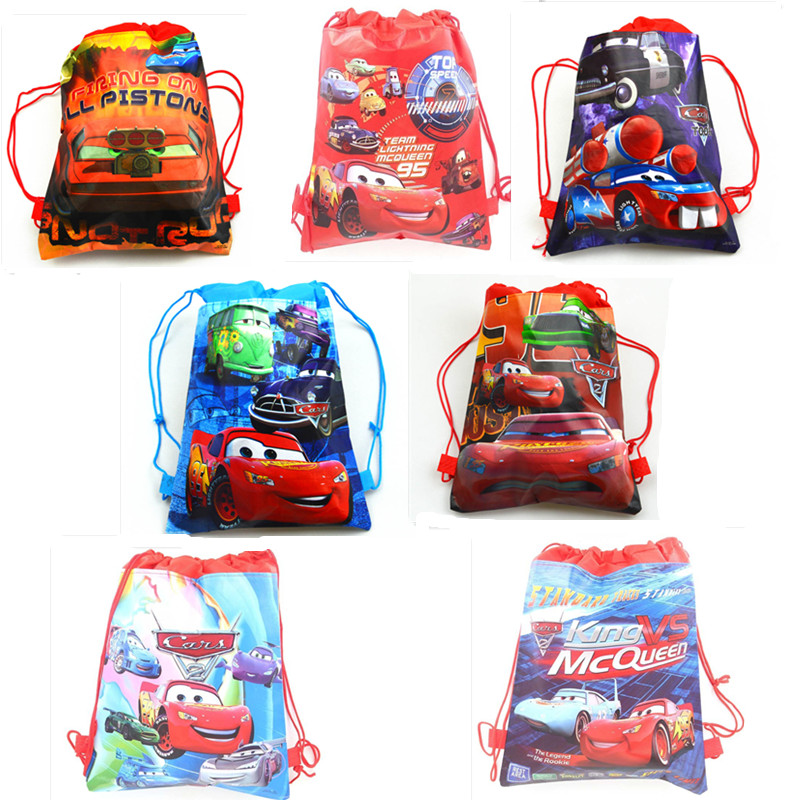 6pcs/lot Cars Theme Non-woven Fabrics Drawstring Backpack Gift Bag Mcqueen Kids Birthday Party Supplies School Bags