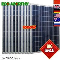 1 кВт 100 Вт 18 в поликристаллический 10 шт. система Off Grid Вт солнечная панель s для 12 В батарея 1000 солнечная для дома солнечная панель солнечная с