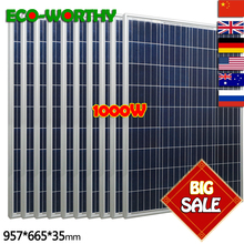 1kw 1000W 18V Polycrystalline 10pcs 100w Solar Panels for 12v Battery off Grid System Solar for Home solar panel solar System