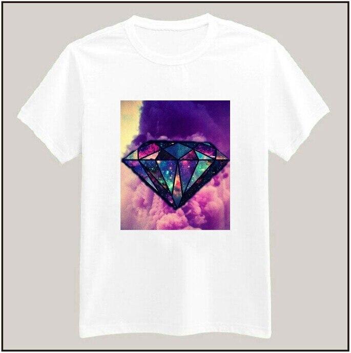 Galaxy diamond print tshirt for women men cotton casual for Galaxy white t shirts wholesale