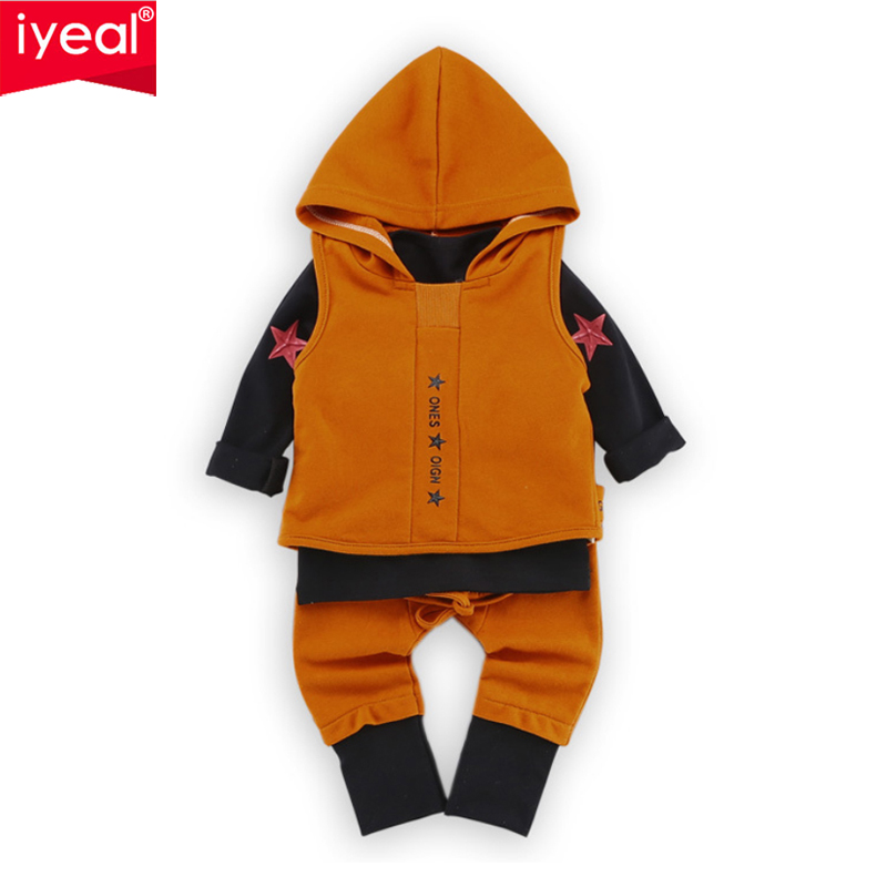 IYEAL New Baby Boys Clothing Sets Fashion Kid Girls Hooded Vest + T-shirt + Pants Spring Autumn Casual Children Clothes Set 3PCS 2017 new cartoon pants brand baby cotton embroider pants baby trousers kid wear baby fashion models spring and autumn 0 4 years