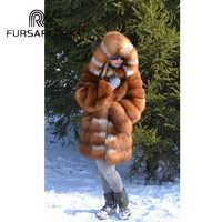 FURSARCAR Natural Real Fur Coat Women Luxury Thick Warm Gold Fox Fur Jacket With Hood 2019 New Winter Fashion Fox Fur Coat