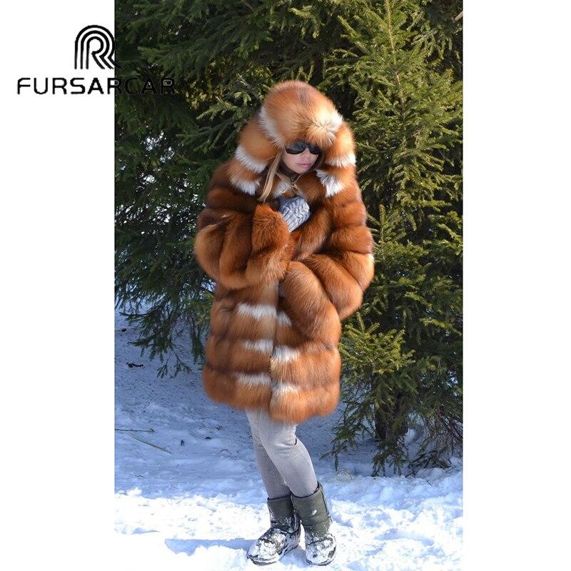 FURSARCAR naturel réel manteau de fourrure femmes de luxe épais chaud or fourrure de renard veste avec capuche 2019 nouveau hiver mode manteau de fourrure de renard