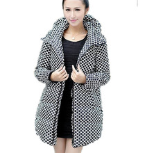 2015 Winter plus size Long Thick Duck Down Winter Jacket women Polka Dot Print  Parkas Hooded Coat Down Jacket  BL714