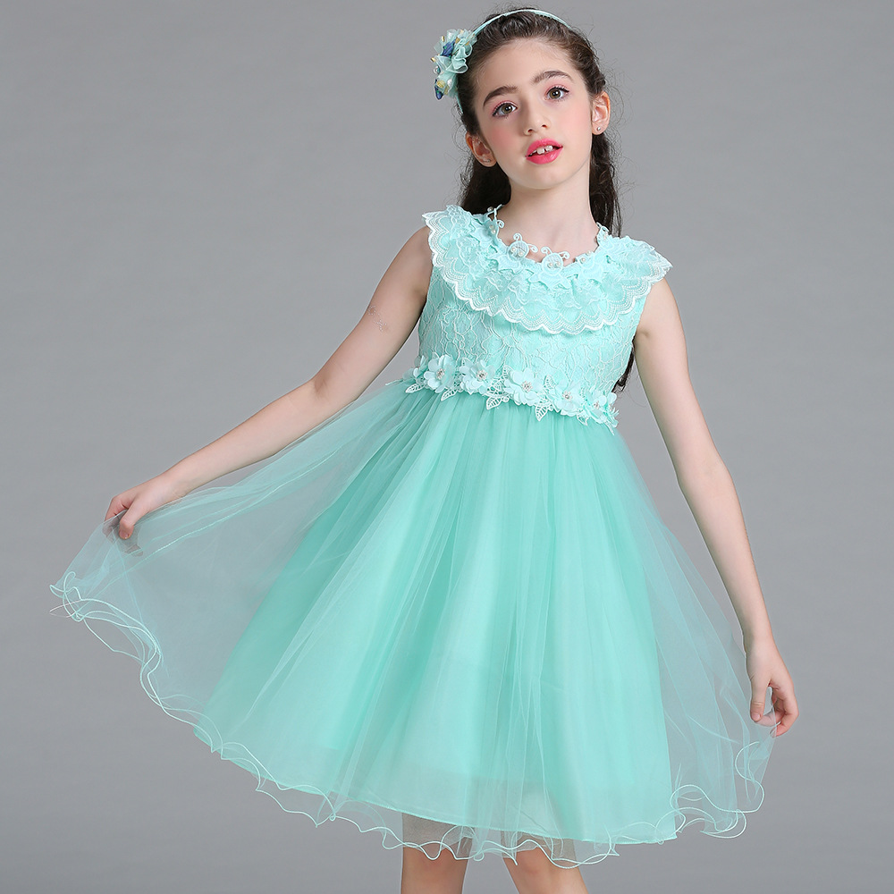 Flower Ruched Girls Wedding Tutu Fancy Dress Solid Mesh Evening ...