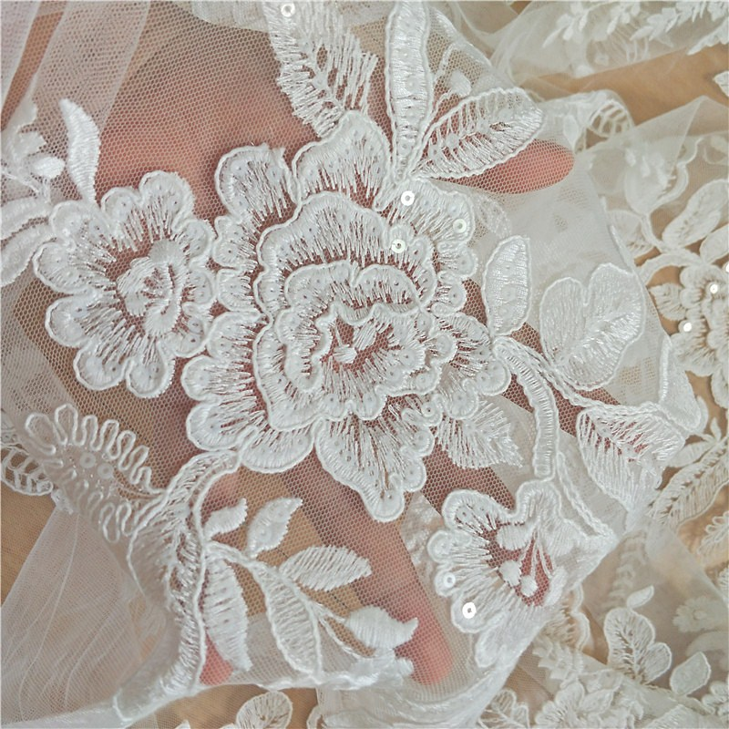 1 Yard elegant floral lace fabric with sequins Tulle mesh cotton thread embroidered wedding lace fabric bride dress lace nice in Lace from Home Garden